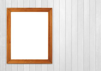 blank wood frame on wood wall