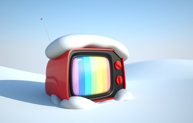 Stylish retro TV in snow