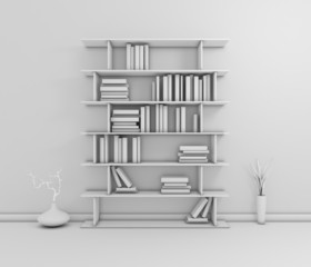 Composition with modern shelf.