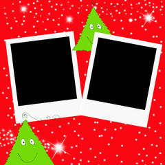 Christmas greeting card two photo frames