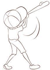 A plain sketch of a male baseball player