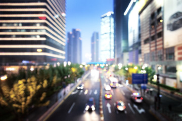 bokeh (out of focus) night Shanghai city, China