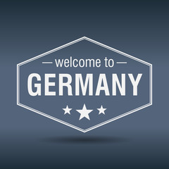 welcome to Germany hexagonal white vintage label