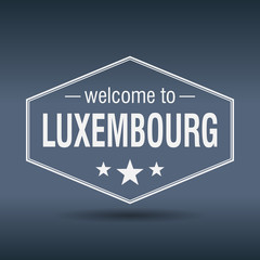 welcome to Luxembourg hexagonal white vintage label