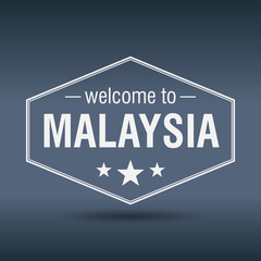 welcome to Malaysia hexagonal white vintage label