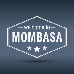 welcome to Mombasa hexagonal white vintage label