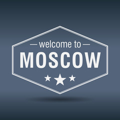 welcome to Moscow hexagonal white vintage label