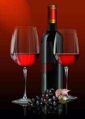 Zwei Rotweingläser mit Rotweinflasche, Weintrauben auf scharzen