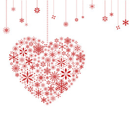 Hanging heart and snowflakes