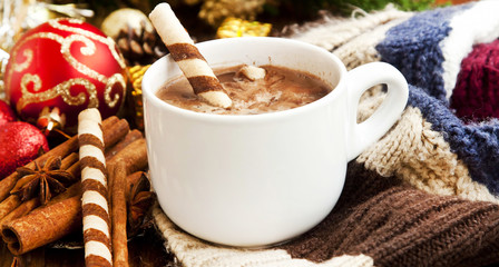 Poster Chocolate Hot Chocolate with Spiral Snack and Christmas Decoration