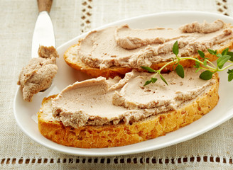 bread slices with liver pate