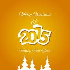 Christmas and White Year 2015 orange background vector