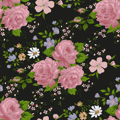 Seamless floral pattern with of pink roses on black background.