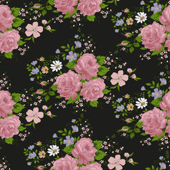 Seamless romantic flowers. High fashion roses. Vector