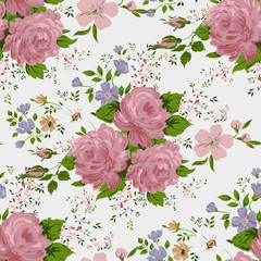 Floral pattern with of pink roses on white background.