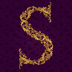 Gold font type letter S, uppercase.