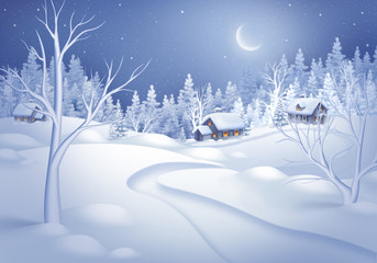 winter night landscape illustration, midnight is small village