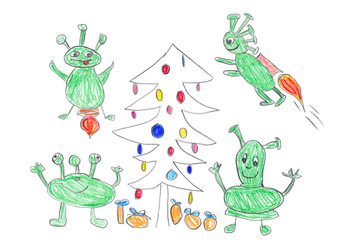 Child's drawing of Aliens celebrating Christmas.