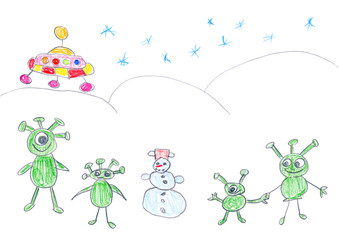 Child's drawing of alien landing on Earth in winter.
