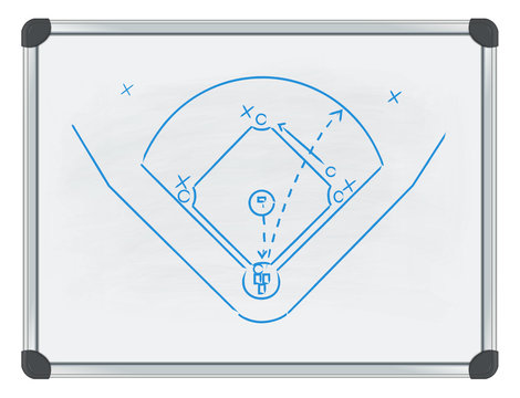 baseball tactic on whiteboard