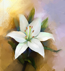White lily flower blossom -flower painting