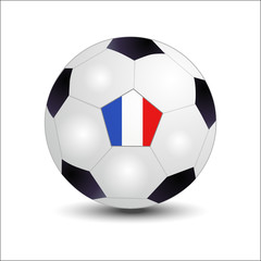 Flags of Francia on soccer ball