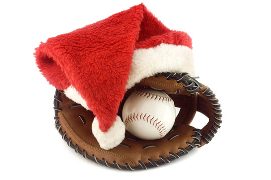 Baseball and mitt, with santa claus hat