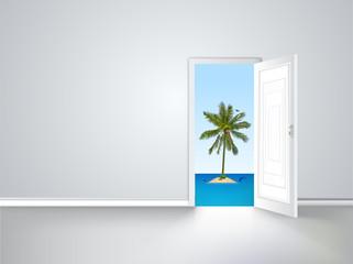 Door to island view behind an open door concept