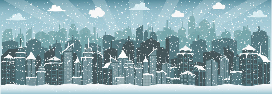 City in winter (Christmas)