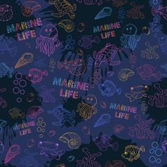 Seamless pattern Marine life