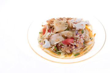 crab papaya salad on white background