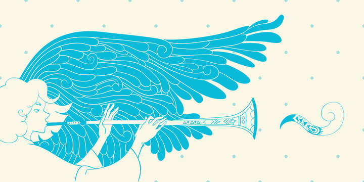 christmas illustration. angel with trumpet