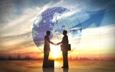 Two business man shake hand silhouettes city with global
