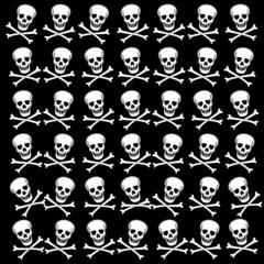 Background with white skulls. Raster.