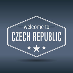 welcome to Czech Republic hexagonal white vintage label