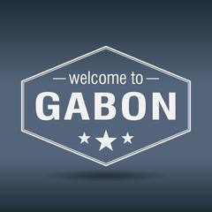 welcome to Gabon hexagonal white vintage label