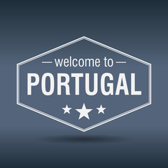 welcome to Portugal hexagonal white vintage label