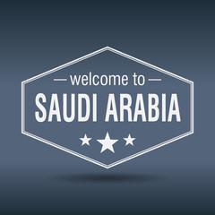 welcome to Saudi Arabia hexagonal white vintage label