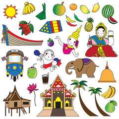 Thai icons and symbols illustration