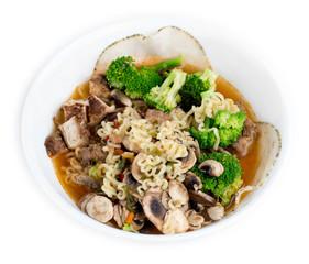 Chicken, broccoli, mushroom and sliced meat enhanced Japanese ra