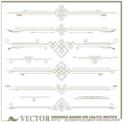 Vector decorative elements based on Celtic patterns
