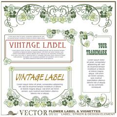 Vector vintage flower labels on different versions
