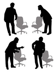 Corporate standing men Silhouette-Vector
