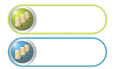 two vector buttons with grid and coin