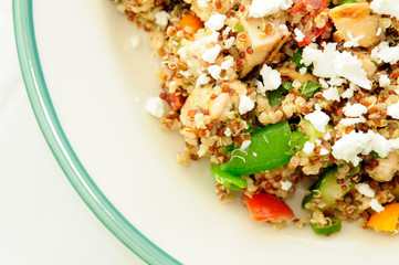 gluten free vegetarian salad made with quinoa, chickpeas, feta a
