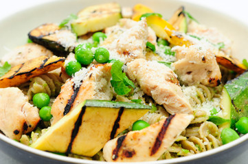 a heart healthy meal of pea pesto pasta with chicken and grilled