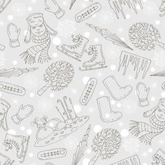 Vector pattern with cartoon symbols of winter