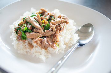duck with basil leaves