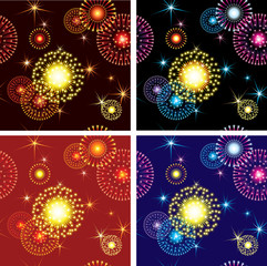 Vector Seamless patterns of  fireworks stars on night sky