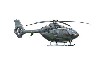 Military helicopter on white background